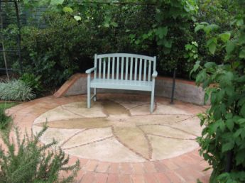 <p>Blue painted bench</p>